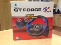 Logitech GT Force steering wheel & pedals set