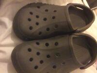 Grey crocs size 7 uni sex