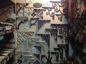 Many styles cast brackets, hinges, house #s, hooks, registers,