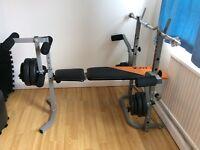 Brand new modern black/gunmetal grey weight bench - dumbbells & weights.