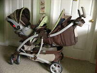 Graco Double stroller with Infant car seat