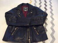 Hardly worn girls full leather biker jacket aged 10