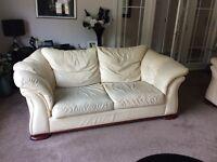 Beautiful large cream leather sofas
