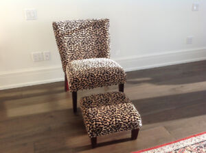 Leopard Print chair with foot rest
