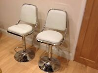 2 faux white leather gas bar stools