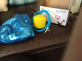 Large blue gym pregnancy ball with foot pump