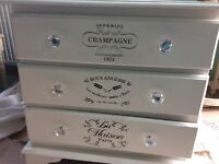 Annie Sloan white three drawer chest of drawers
