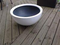 White fibreglass low bowl planter 72cm diameter