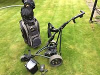 Powakaddy electric golf trolley , bag , charger and new battery