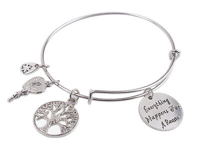 Expandable Wire Bangle Everything Happens For A Reason Charm Bracelet