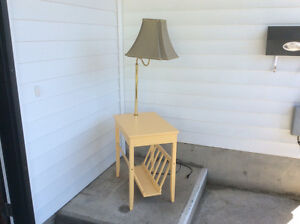 wooden magazine rack table with attached lamp