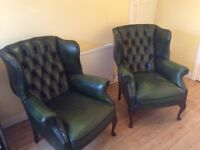 Two real leather antique green Queen Anne Chairs