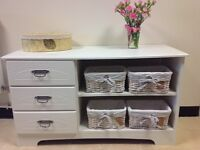Painted furniture storage unit with baskets