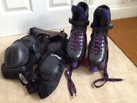 Roller boots with knee and elbow pads