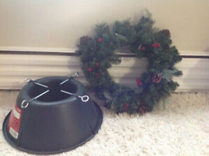 pre-lit christmas wreath and tree stand