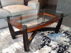 Coffee table..glass top with accent base