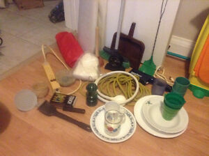 Dishes, Bowls, Sheetof Plastic, Clock, Extenison Bar, Etc.