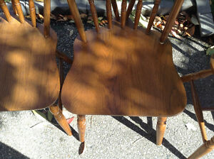VERY NICE SET OF 6 vintage oak chairs firm price Cambridge Kitchener Area image 3