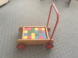 Vintage Retro Triang Childs Baby Walker with Building Blocks