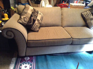 Couch Brown /coffee and black  trim comfy and misc. items