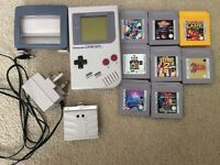 Game Boy (original) with 9 games and accessories