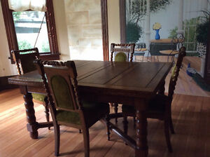Antique Late 1800's Refectory table and 8 chairs