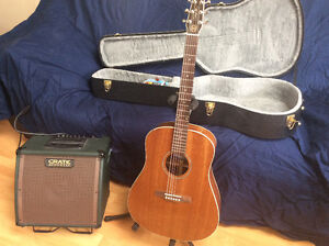 Seagull electric acoustic guitar and amp