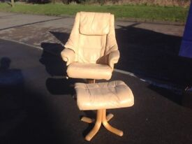 Leather Swivel Recliner Chair with footstool