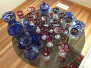Collection of blue and red cobalt vases and glasses