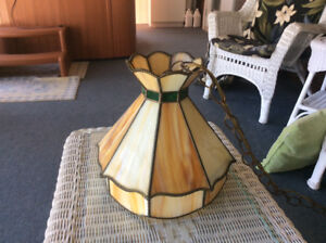 Hand made hanging stained glass lamp and matching table lamp