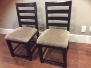 6 CHAIRS, dining room, wood with beige fabric seat