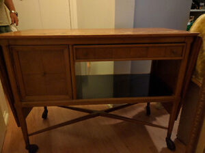 Antique Side Buffet on rolling wheels with extendable Flaps