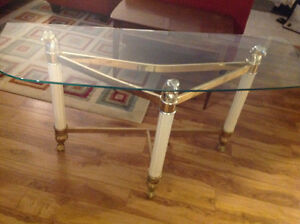 Glass & metal accent table