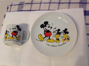 Mickey Mouse Plate and Cup set. -Glass -Made in Japan..