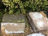 Indian paving slabs 8.75m2 and timber garden bench/ table