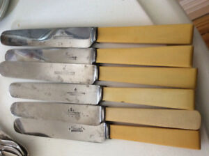 6 antique resin-handled stainless knives