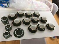 Aplico green french porcelain tea/coffee set for 12