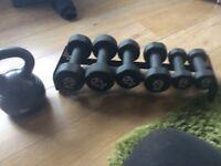 Weight set and kettlebelll