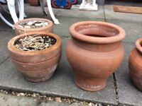 Variety of terracotta pots