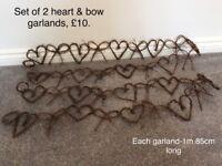 Wedding rattan heart garlands