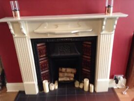 Victorian style cast iron fireplace and mantlepiece