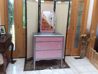Dresser with hand painted horses face mirror