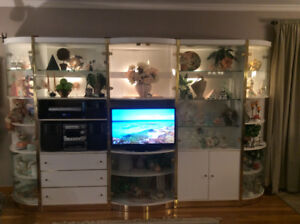 5 piece white lighted  wall unit glass doors