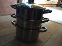 "Saucepan steamer, large 8 1/2 "", two steamer sections see through lid £5"