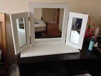 White folding dressing table mirror £10 Ono