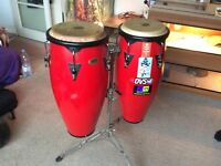 Pair of cp conga drums with stand