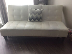 Cream Leather Futon SOLD-PPU