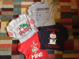 Boys 12-18 months Xmas tops.