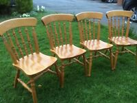 Solid pine dining chairs + table