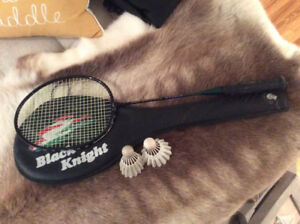 Badminton racket and birds.